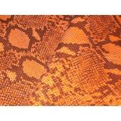 Skóra naturalna kaletnicza pomarańczowa - wzór węża ,grubsza  z przeznaczeniem na torebki, wykończenia i inne. Skory naturalne w Leather-design.eu