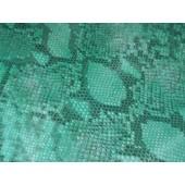 Skóra naturalna kaletnicza turkusowa. Skóra naturalna wzór węża ,grubsza  z przeznaczeniem na torebki, wykończenia i inne. Skory naturalne w Leather-design.eu