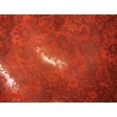 Skóra naturalna kaletnicza pomarańczowa ze złotym nadrukiem. Skóra naturalna wzór, skóra naturalna  z przeznaczeniem na torebki, wykończenia i inne. Skory naturalne w Leather-design.eu